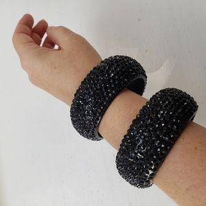 Black crystal bangles / bracelets